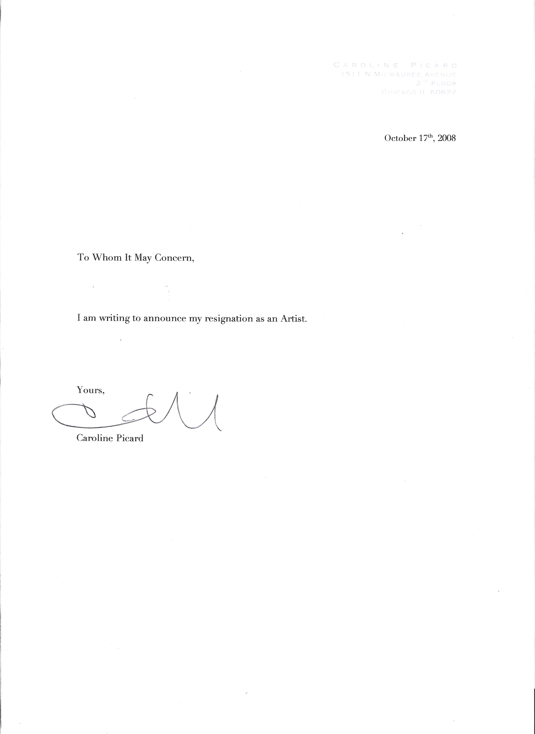 Employee Resignation Letter For