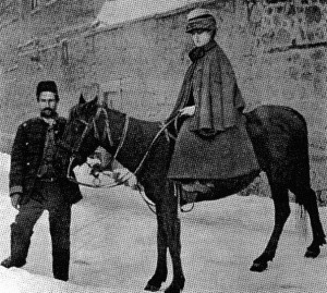 Isabella Bird and her Tibetan pony, Gyalo